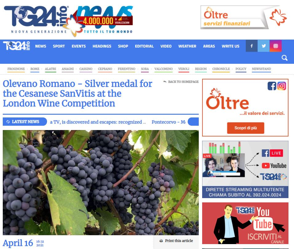 Olevano Romano - Silver medal for the Cesanese SanVitis at the London Wine Competition