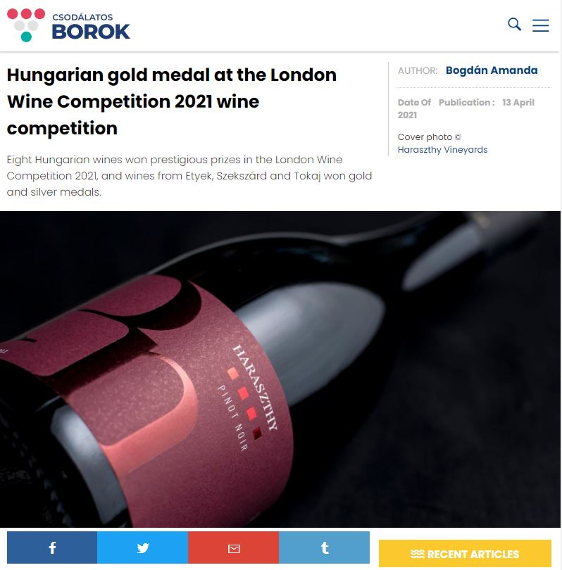 Hungarian gold medal at the London Wine Competition 2021 wine competition