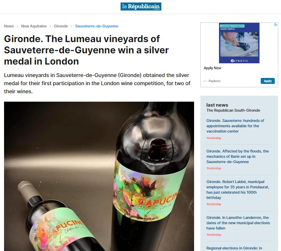 Gironde. The Lumeau vineyards of Sauveterre-de-Guyenne win a silver medal in London