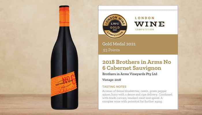 2018 Brothers in Arms No 6 Cabernet Sauvignon