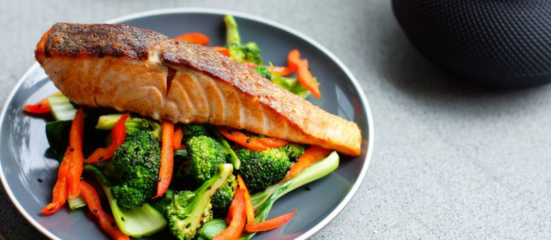 Photo for: Healthy Serve of Salmon Accompanied by a Light Red Wine
